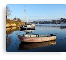 Happy Reflections Of An Old Red Boat Canvas Print