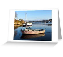 Happy Reflections Of An Old Red Boat Greeting Card