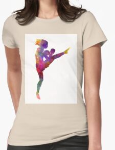 woman boxer boxing kickboxing silhouette isolated 01 Womens Fitted T-Shirt