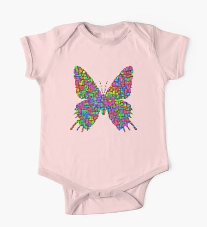 Artificial neural style Simplex pixel Papilio Gloria butterfly One Piece - Short Sleeve