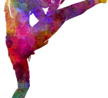 woman boxer boxing kickboxing silhouette isolated 01 Sticker