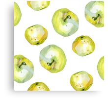 Watercolor apples pears pattern Canvas Print