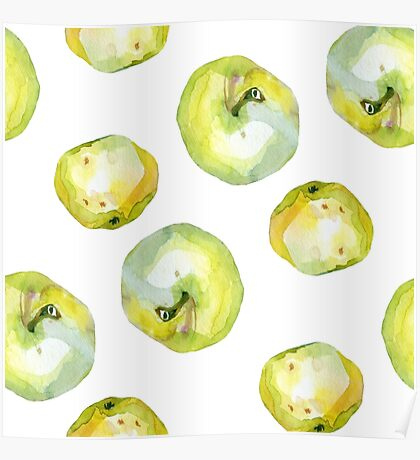 Watercolor apples pears pattern Poster