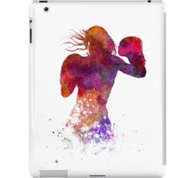 woman boxer boxing kickboxing silhouette isolated 02 iPad Case/Skin