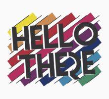 HELLO THERE retro colors geometric Kids Tee