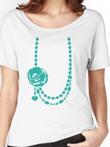 Pretty rose flower necklace with beading Women's Relaxed Fit T-Shirt