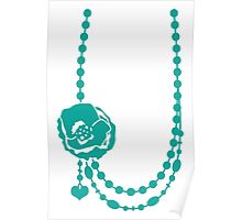 Pretty rose flower necklace with beading Poster