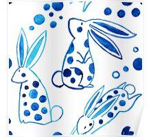 Blue rabbit Poster