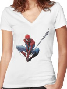 Spiderman Women's Fitted V-Neck T-Shirt