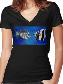 Ocean Fishes Acrylic Painting Women's Fitted V-Neck T-Shirt