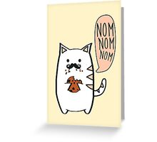 Mustache cat loves cookies Greeting Card