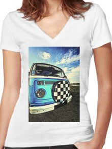 Chequered Blue Women's Fitted V-Neck T-Shirt
