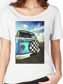 Chequered Blue Women's Relaxed Fit T-Shirt