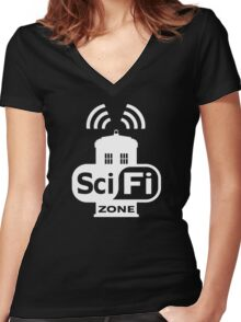 Sci-Fi ZONE White Women's Fitted V-Neck T-Shirt
