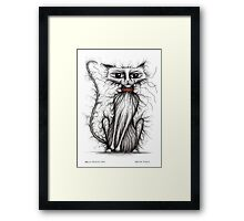 Hello Fuzzy cat Framed Print