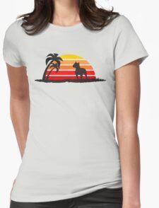 Pitbull on Sunset Beach Womens Fitted T-Shirt