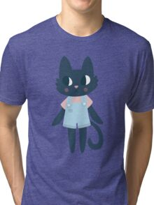 Cute Kitty In Dungarees Tri-blend T-Shirt