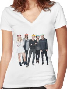 R5 Flower Crown Group Shot Women's Fitted V-Neck T-Shirt