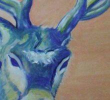 Blue Reindeer/ORIGINAL PAINTING by Amit Grubstein Sticker