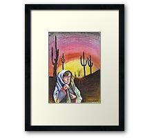 Desert Girl/ORIGINAL PAINTING by Amit Grubstein Framed Print