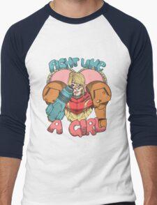 Fight Like A Girl - Samus Aran (Metroit) Men's Baseball ¾ T-Shirt