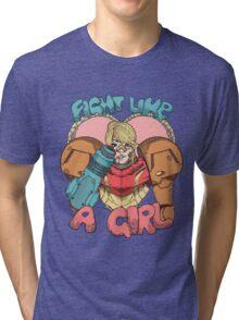 Fight Like A Girl - Samus Aran (Metroit) Tri-blend T-Shirt