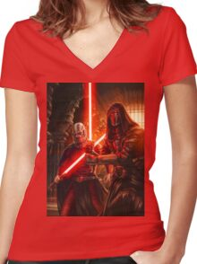 Darth Revan And Darth Malak Women's Fitted V-Neck T-Shirt