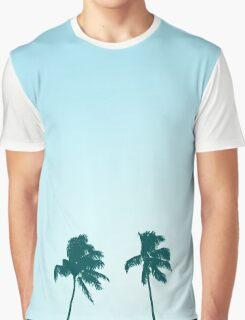Twin Retro Palm Tree Silhouette Design Graphic T-Shirt