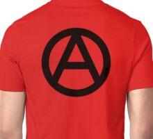 ANARCHY, Anarchist, Revolution, Rebellion, Revolt, Protest, Unrest, Disorder, Symbol, in black Unisex T-Shirt
