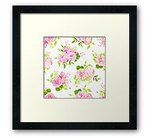 Beautiful pink peonies with green leaves on white seamless vector print in shabby chic style. Framed Print