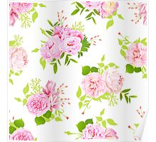 Beautiful pink peonies with green leaves on white seamless vector print in shabby chic style. Poster
