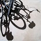 Two for One - Bicycle Cycling painting art by LindaAppleArt