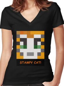 Stampy Cat! Women's Fitted V-Neck T-Shirt