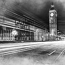 Evening rush on Westminster Bridge with the Big Ben in the background by flashcompact