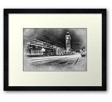 Evening rush on Westminster Bridge with the Big Ben in the background Framed Print