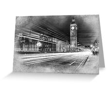 Evening rush on Westminster Bridge with the Big Ben in the background Greeting Card