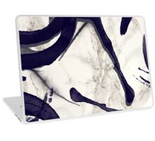 Marble and Watercolor Stains dark Blue Grey Laptop Skin