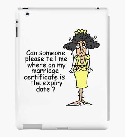 Funny Sarcasm Marriage Certificate iPad Case/Skin