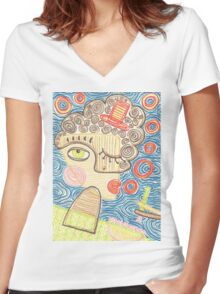Smoking lady in blue Women's Fitted V-Neck T-Shirt