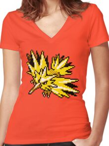 Zapdos Retro Women's Fitted V-Neck T-Shirt
