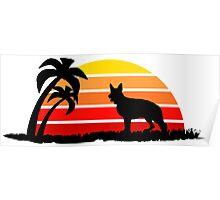 German Shepherd on Sunset Beach Poster