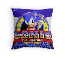 sonic sega logo Throw Pillow