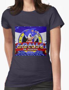 sonic sega logo Womens Fitted T-Shirt
