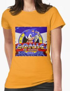 sonic sega logo Womens Fitted T-Shirt