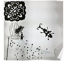 dora doily with cockroach black&white Poster