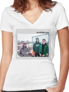 old lady photobomb Women's Fitted V-Neck T-Shirt