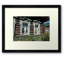 carvings window log farmhouse  Framed Print