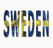 Sweden Word With Flag Texture One Piece - Long Sleeve