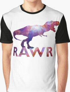 Space T-Rex Dinosaur, Blue and Red Graphic T-Shirt
