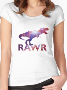Space T-Rex Dinosaur, Blue and Red Women's Fitted Scoop T-Shirt